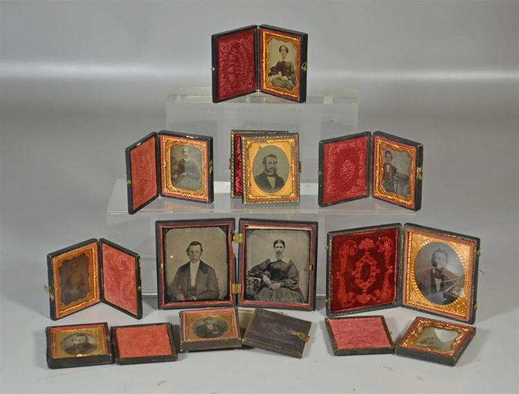 12 tin types including nine (9) singles of men and women in their cases, one possibly an inventor, a double in a gutta-percha case, ...