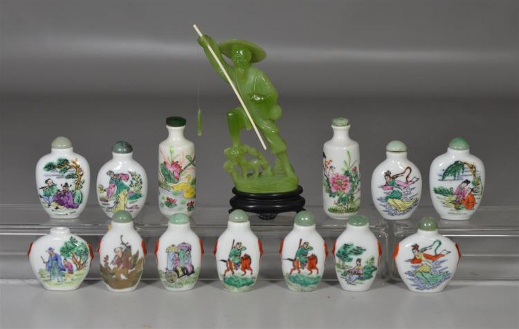13 Chinese porcelain snuff bottles, together with a faux jade fisherman, 6 3/4