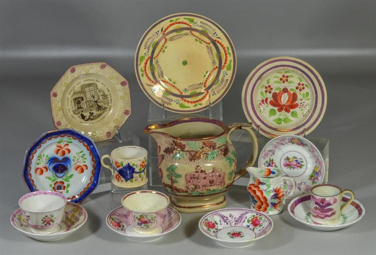 15 assorted luster decorated cups, plates, etc, to include a pitcher with cows (damaged handle and hairlines), five (5) saucers, fou...