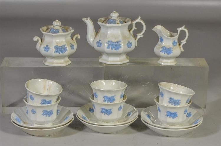 15 piece Chelsea miniature child''s tea set to include six (6) cups and saucers, teapot, covered sugar and creamer