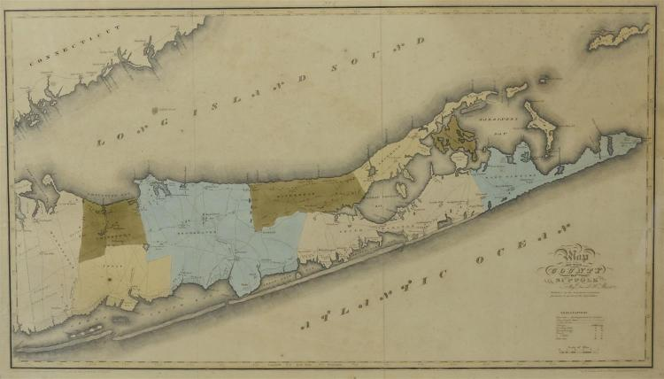 1829 Map of the County of Suffolk by David M Burr, faded colors, some browning, stains atr edges, vertical fold creases, image 18 1/...