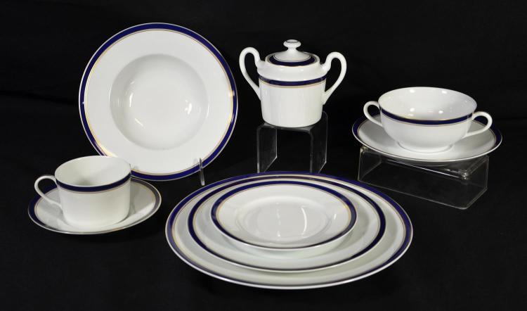 196 pcs Raynaud & Co, Limoges porcelain dinnerware, cobalt border with double gilt liner, c/o 10 dinner plates, 46 salad plates, 18...