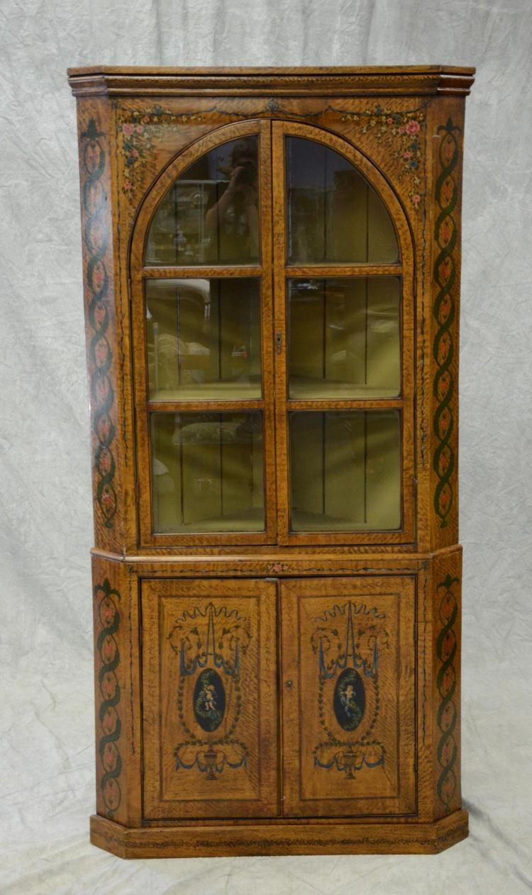 2 pc Georgian style corner cabinet, painted Adams style decoration throughout, top section with double arched glazed doors, butterfl...