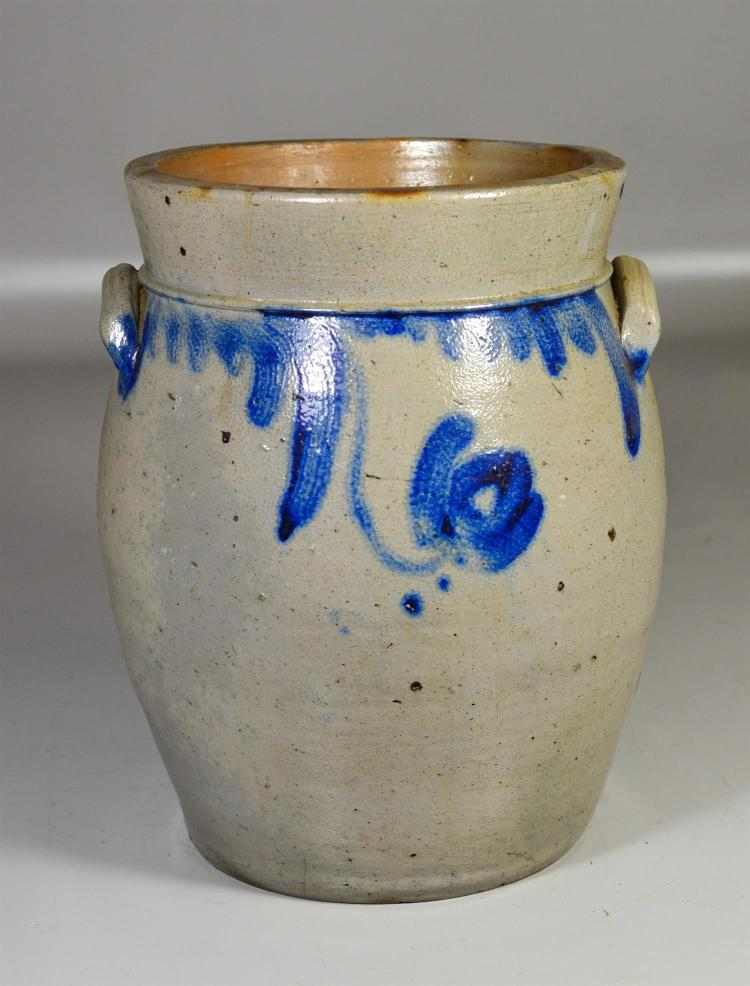 3 gallon blue decorated stoneware crock, applied handles, impressed