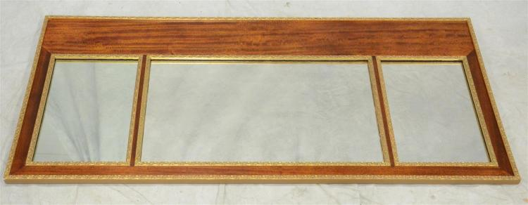 3 part gilt and mahogany framed Federal style mirror, 59