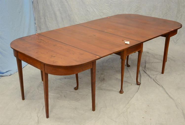3 part walnut drop leaf dining table, center section w/QA style legs, the D shaped end with square tapered legs, a drawer in each ...