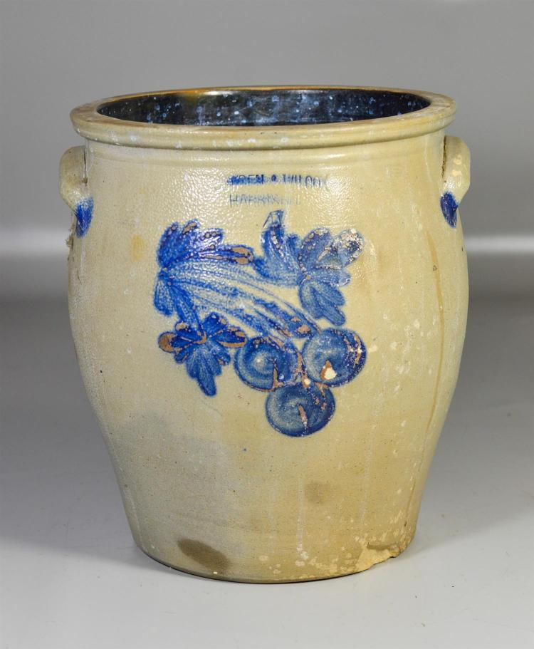4 gallon Cowden & Wilcox blue decorated stoneware crock, glaze loss across front, 2 1/2