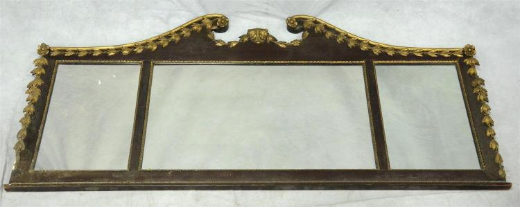 3 part gilt and mahogany framed Federal style mirror with broken scroll center crest, 62