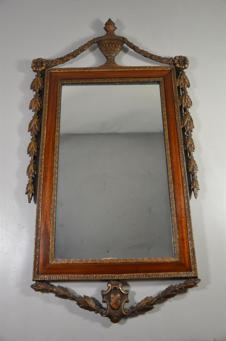 Adams style mahogany and gilt mirror with urn finial and leaf swagging, 34