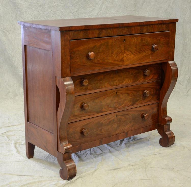 American Federal mahogany 4 drawer bureau with scrolled veneered columns at each side, 46 1/2