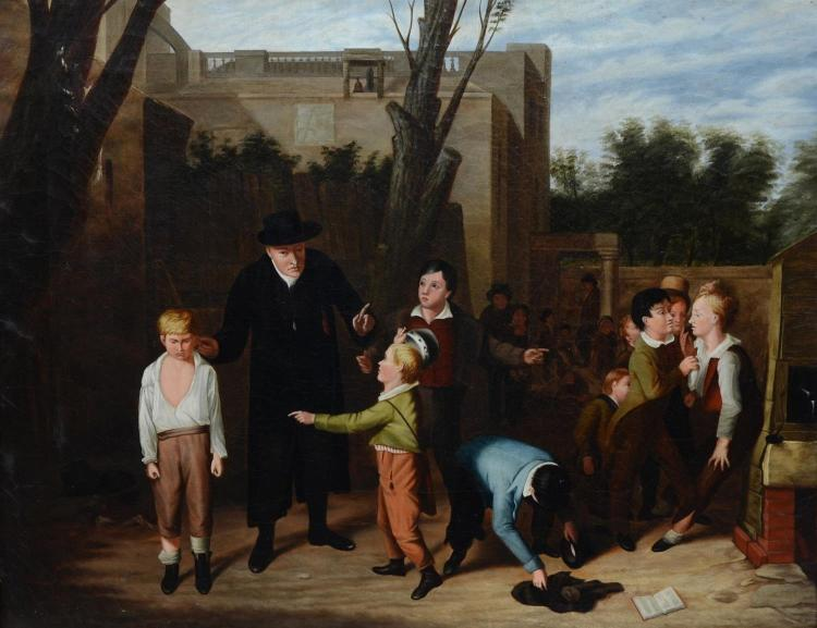 American School (19th Century), oil on canvas, School Yard Fight, 18