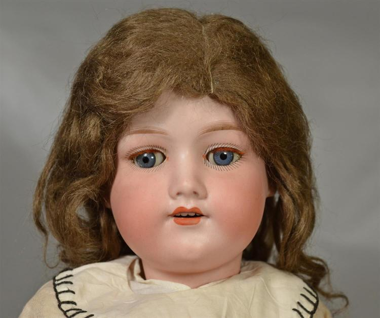 Armand Marseille 390 bisque head doll, sleep eyes with red lashes, open mouth with teeth, original mohair wig & pate,ball & joint co...