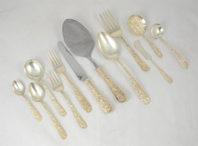 Assembled set 69 pcs S Kirk Repousse pattern sterling silver flatware c/o 18 teaspoons, 14 dinner forks, 12 HH dinner knives, 8 sala...