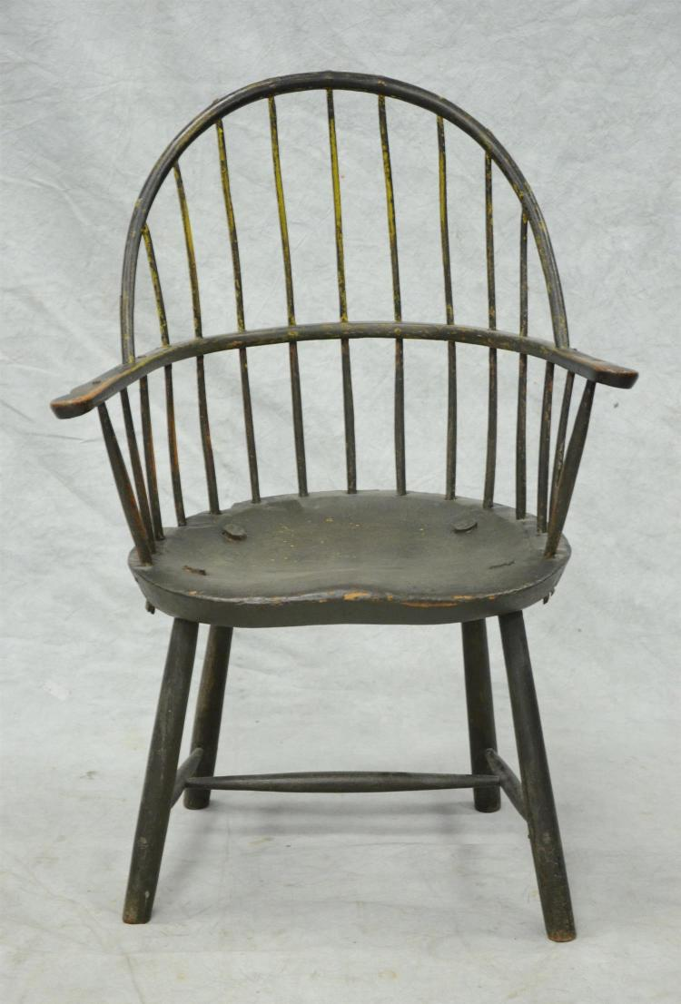Bowback Windsor armchair, old painted surface, late 18th c, 36 1/2