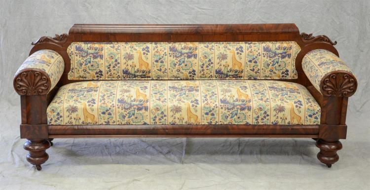 Carved mahogany American Federal sofa, shell carved arms, turned legs, 90