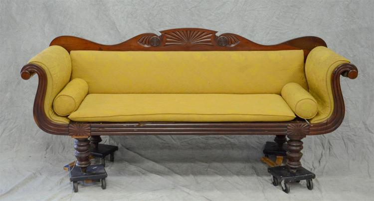 Carved mahogany Federal sofa, Caribbean origin, probably Barbados, swept out arms, turned legs, 96