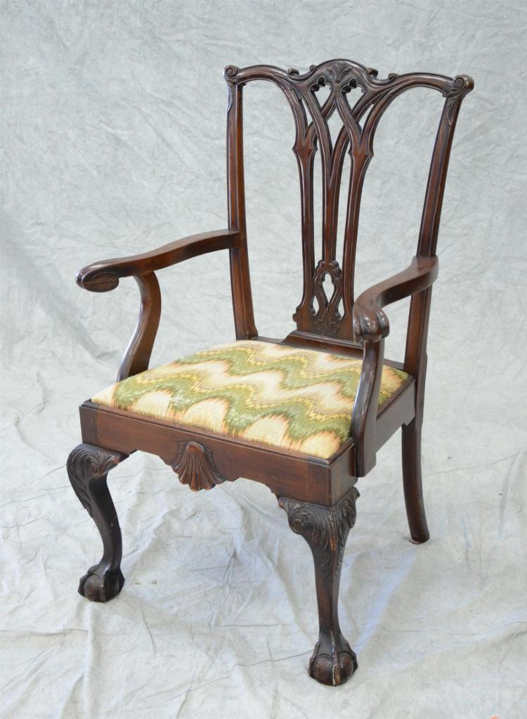 Carved mahogany Robert Morris Chippendale style armchair, shell carved apron and acanthus carved knees, 40 1/2