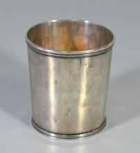 Charleston, SC coin silver mint julep cup by William H Ewan, 1786-1852, active c 1850,  3 1/2
