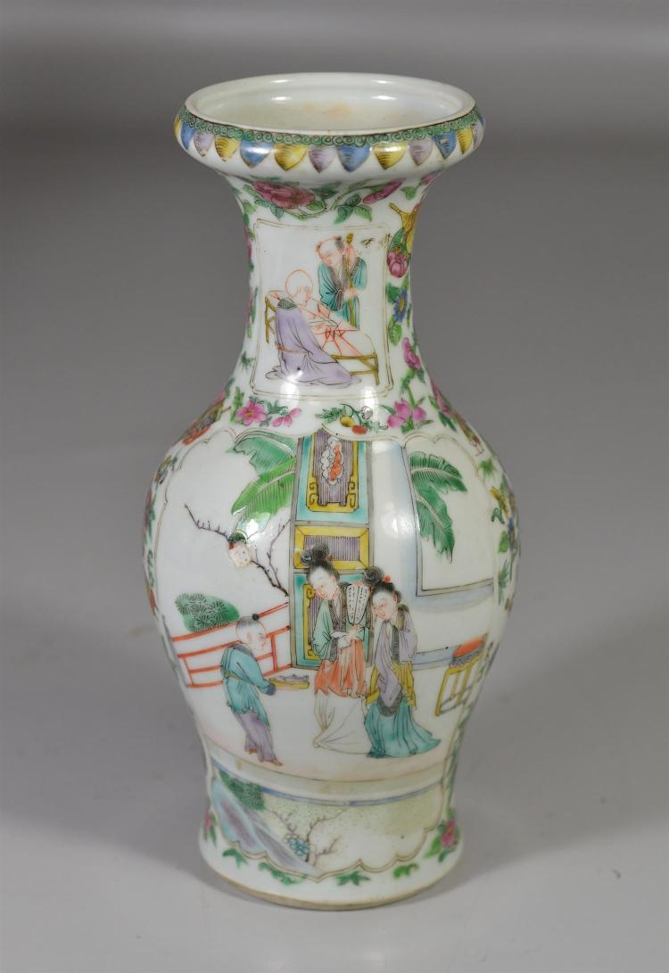 Chinese export porcelain vase, small area of loss possibly from firing, 9