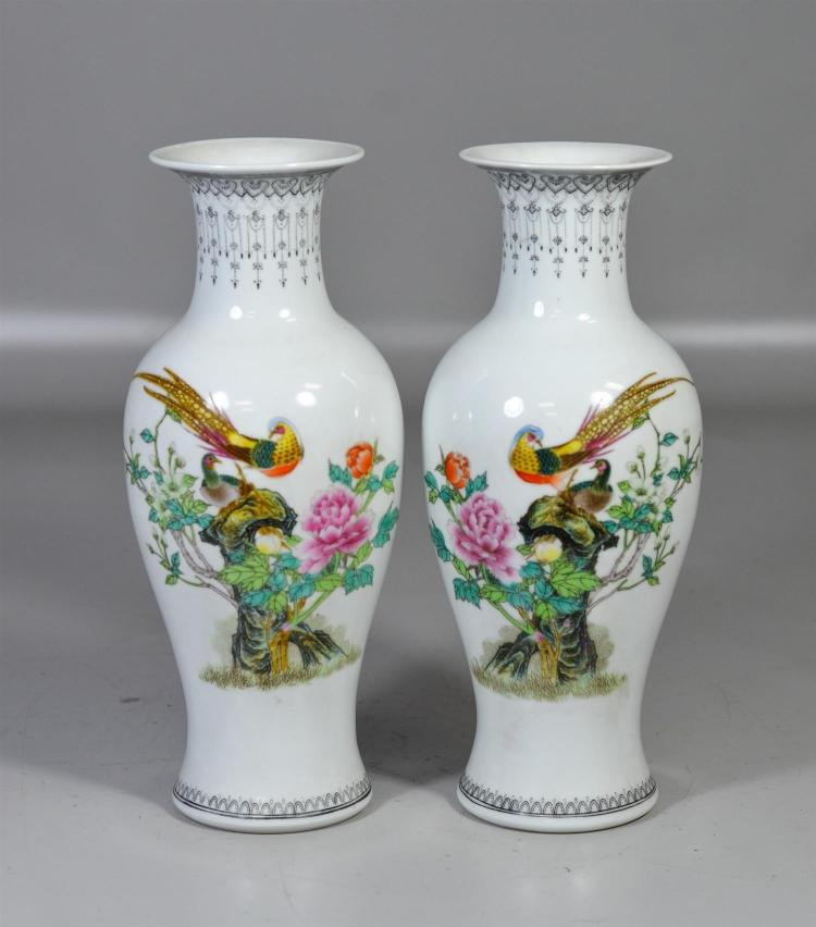 Chinese Republic period mirrored pair porcelain vases, with exotic birds and calligraphy to verso, mark to base, 12-1/4