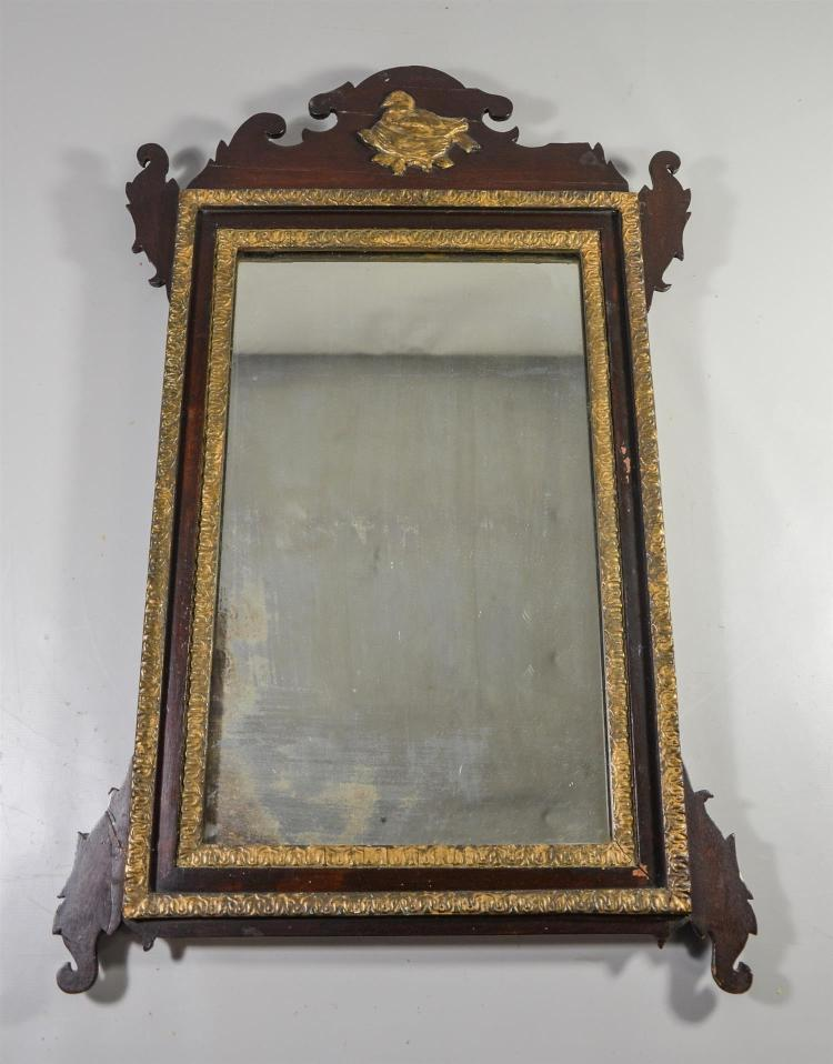 Chippendale style mirror with gilt decoration, bird on nest crest, old if not original mirror, max 27