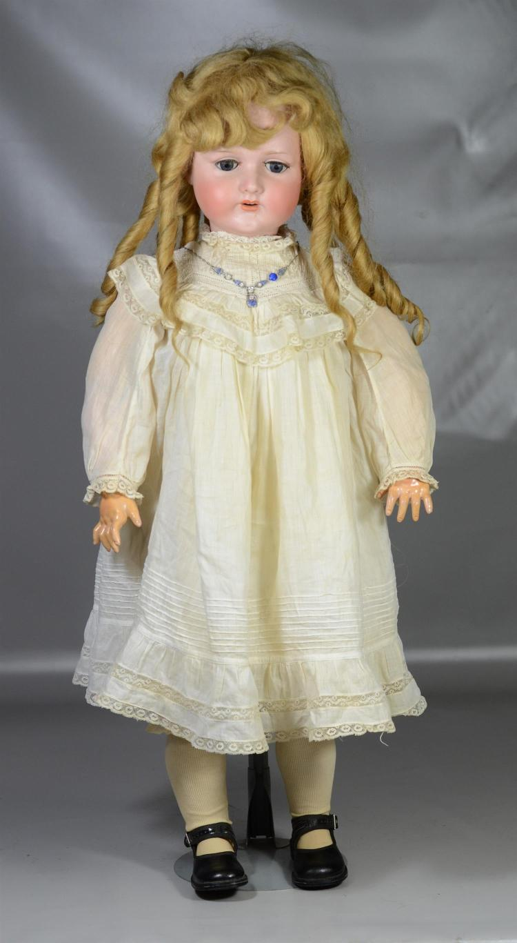 CM Bergman Walterhausen bisque head child doll, very large jointed composition body, sleep eyes, replaced eyelashes, open mouth with...