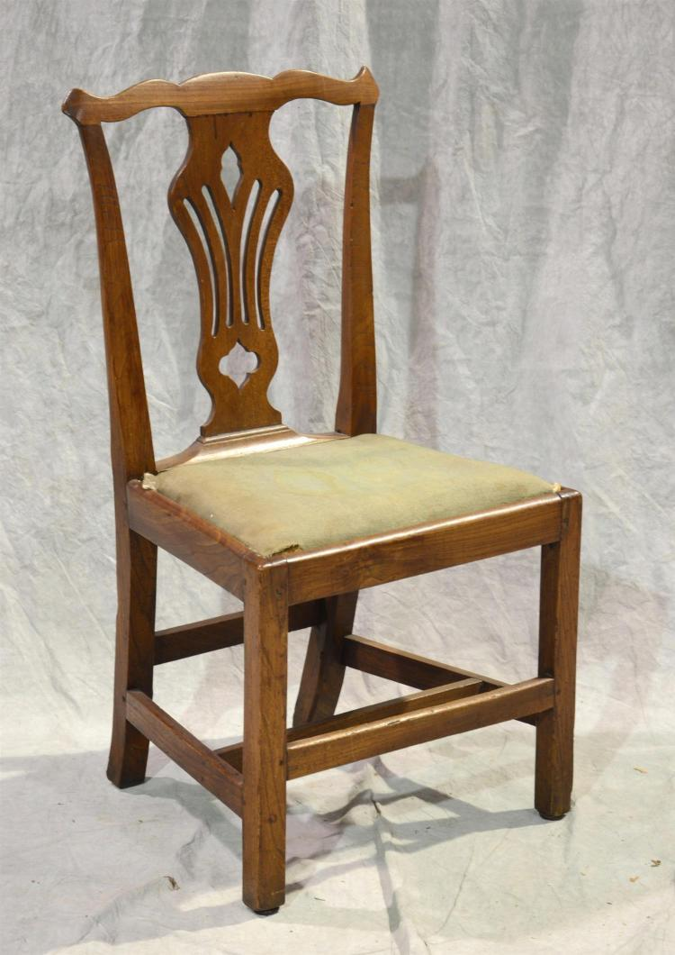 Country Chippendale side chair, pierced splat, 38