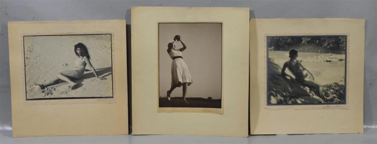 D R D Wadia, 20th c, India, 14 bromide photographs, seaside and other nudes & frolicking women, Wadia was a serious amateur photogra...