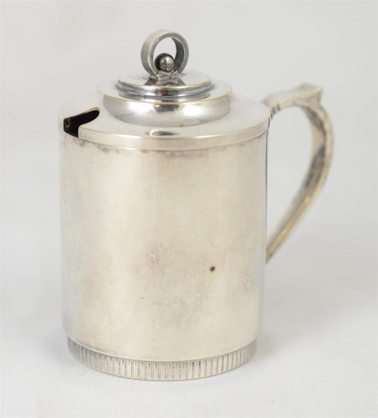 Danish mid-century 826 silver mustard pot, c 1953, makers mark, 2.61 TO, 3