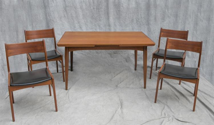 Danish Modern Dining Room Set to include refractory table and 4 chairs, 28-1/2