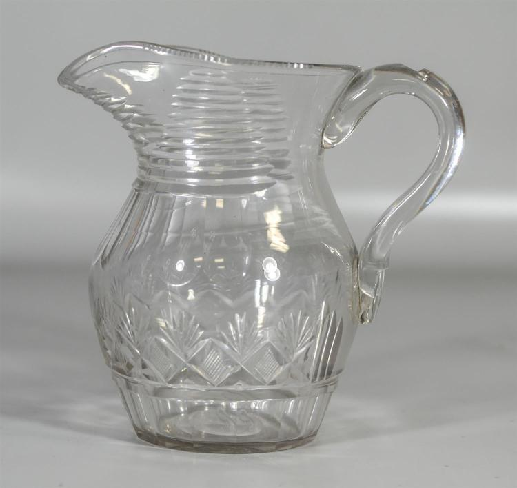 Early blown and cut glass pitcher with pineapple and fan decoration, heat check at handle, 8 1/4