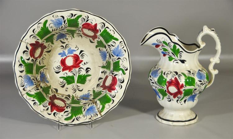 English Adams pitcher and bowl set, pitcher with small hairline, bowl with extensive restoration, bowl 13 1/4