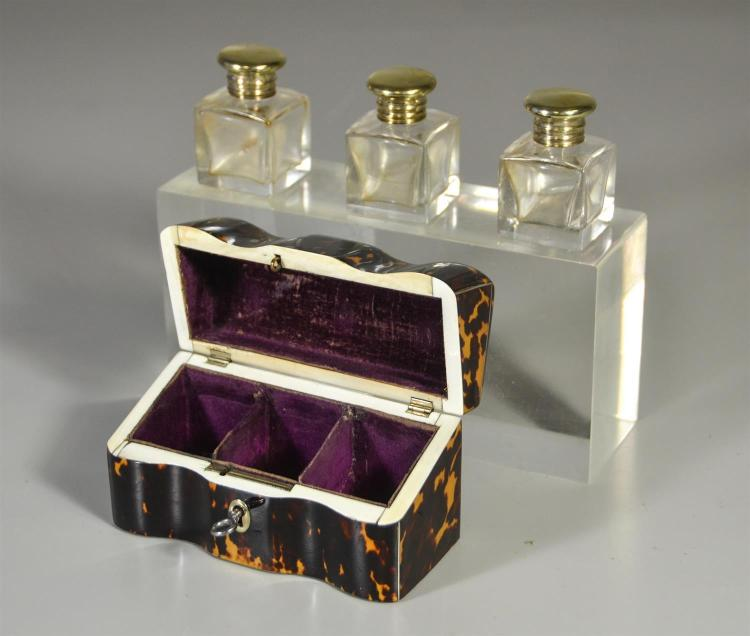 English Regency tortoise shell caddy with three (3) gilt metal perfume bottles, 3 1/2