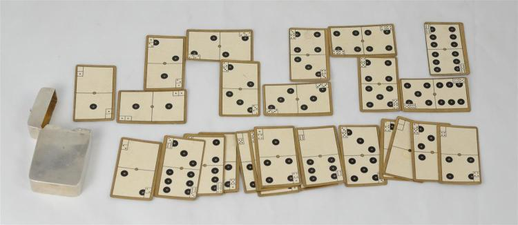English silver playing card case containing a complete set of 28 dominoes playing cards, Birmingham, 1903-4, 1