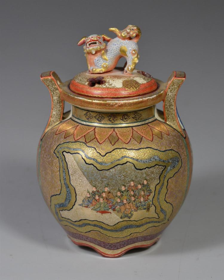 Fine Japanese Satsuma small covered incense jar, no mark to base, pierced lid with foo dog finial, 5