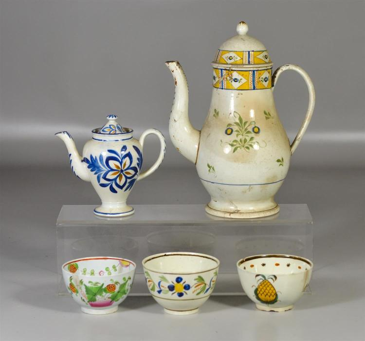 Five (5) pieces of soft paste to include strawberry tea bowl, pineapple tea bowl, child''s coffee pot, large coffee pot, largest 10
