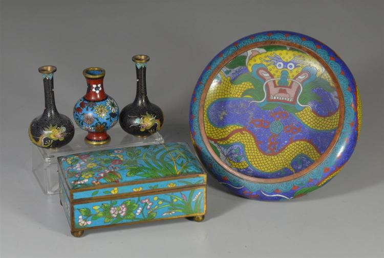 Five pieces of Chinese cloisonne to include dragon bowl with four (4) character mark to base, a box with floral decoration, small pa...