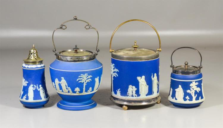 Four (4) pieces of English blue and white jasper to include two (2) Wedgwood biscuit barrels, tallest 9 1/2