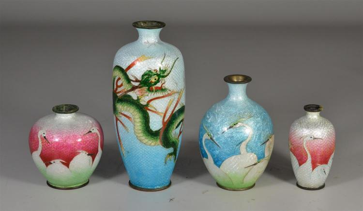 Four (4) pieces of Japanese Ginbari cloisonne vases, three (3) decorated with cranes, one decorated with dragon, all with typical co...