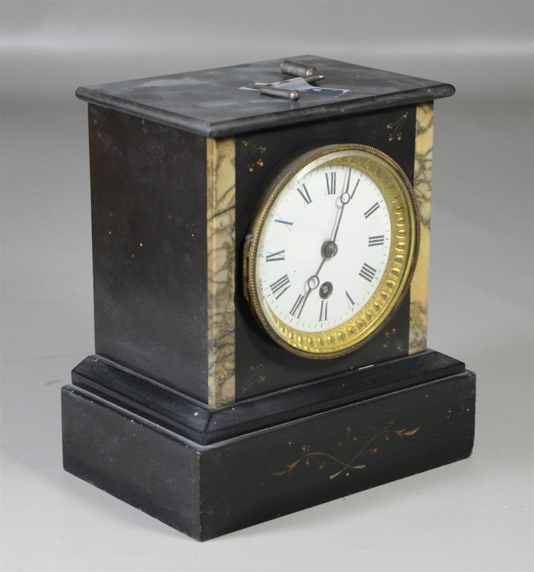 French black marble time only mantle clock, unsigned, runs when wound, white enameled dial in good condition, with crank key, 8 1/4