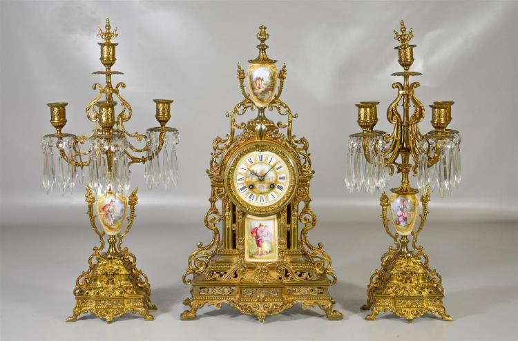 French gilt bronze & porcelain 3-piece clock set, retailed by Bailey, Banks and Biddle, with porcelain dial, porcelain plaque and po...