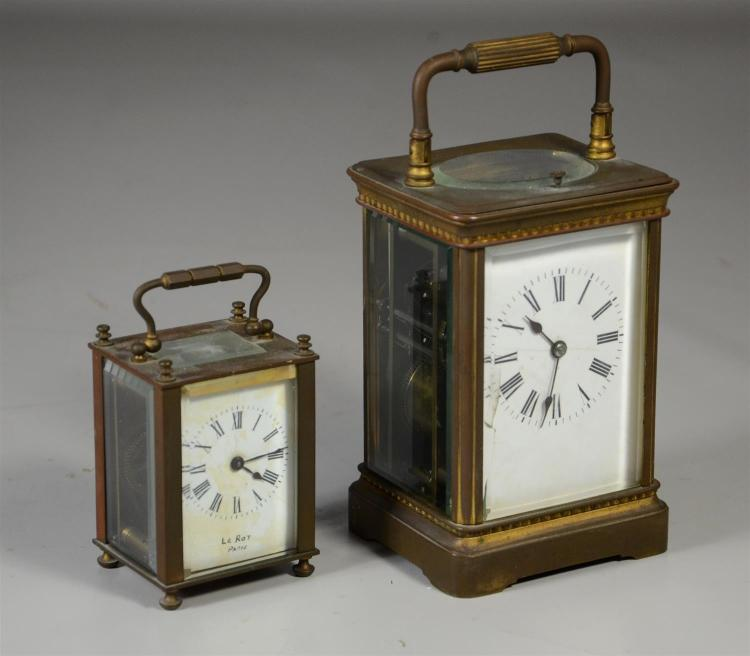 French hour repeating carriage clock, double spiral chime, crack along left edge of front glass, 7 1/4