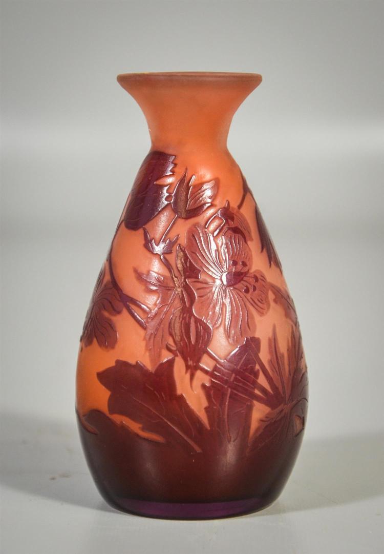 Galle acid cut baluster form vase, 2 butterflies in leaves, pale amethyst, 4 1/4
