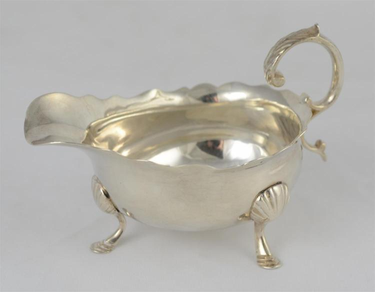 George II silver footed cream pitcher, worn marks, c 1740-50, 5 1/2