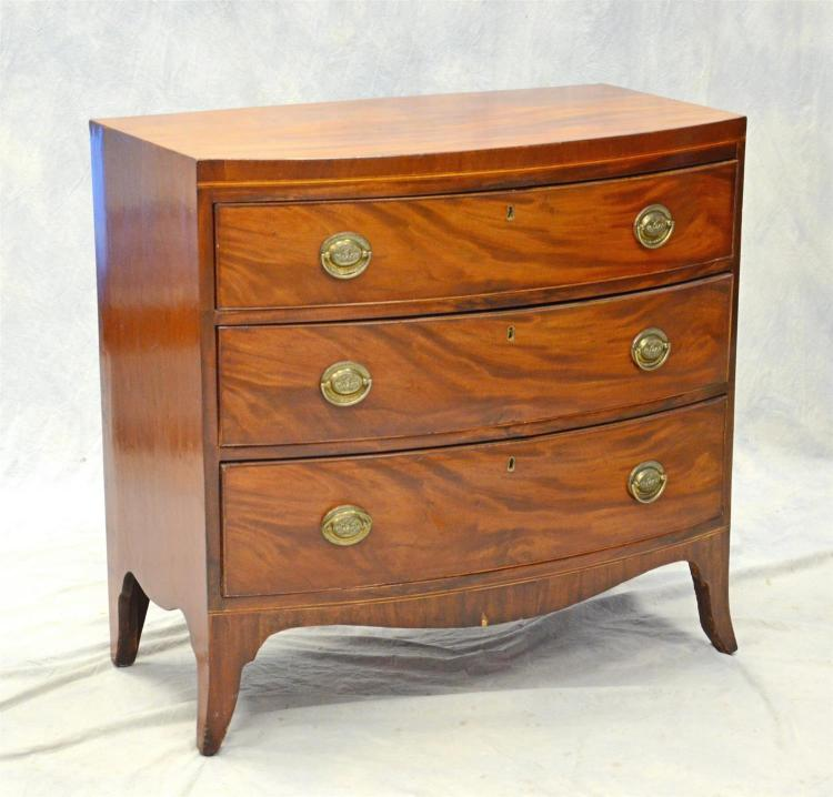 George III (3) drawer bow front mahogany chest with French feet, 34-1/2