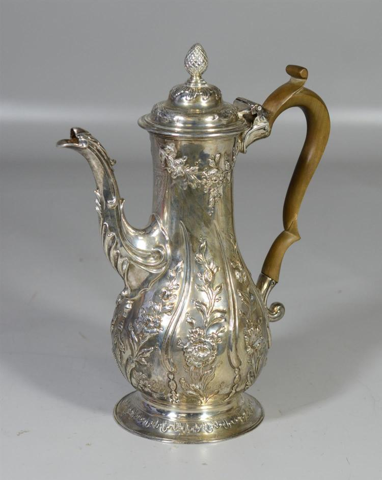 George III English silver repousse teapot by William & James Priest, London, c 1770, 26.85 TO, 11