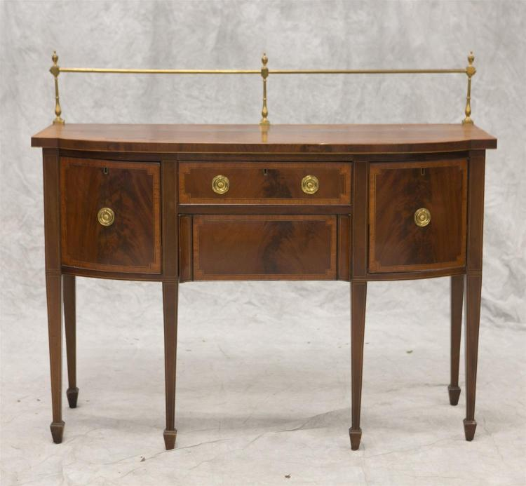 George III inlaid mahogany Hepplewhite sideboard with brass gallery back, 47