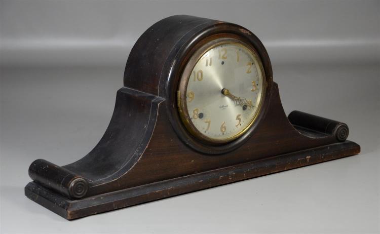 Gilbert Model 1807 mahogany tambour clock, time & strike, with key & pendulum, 21 1/4