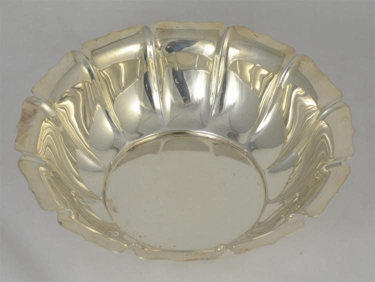 Gorham round sterling silver paneled bowl,