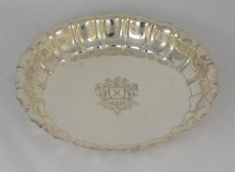 Gorham round sterling silver ribbed & paneled low bowl,